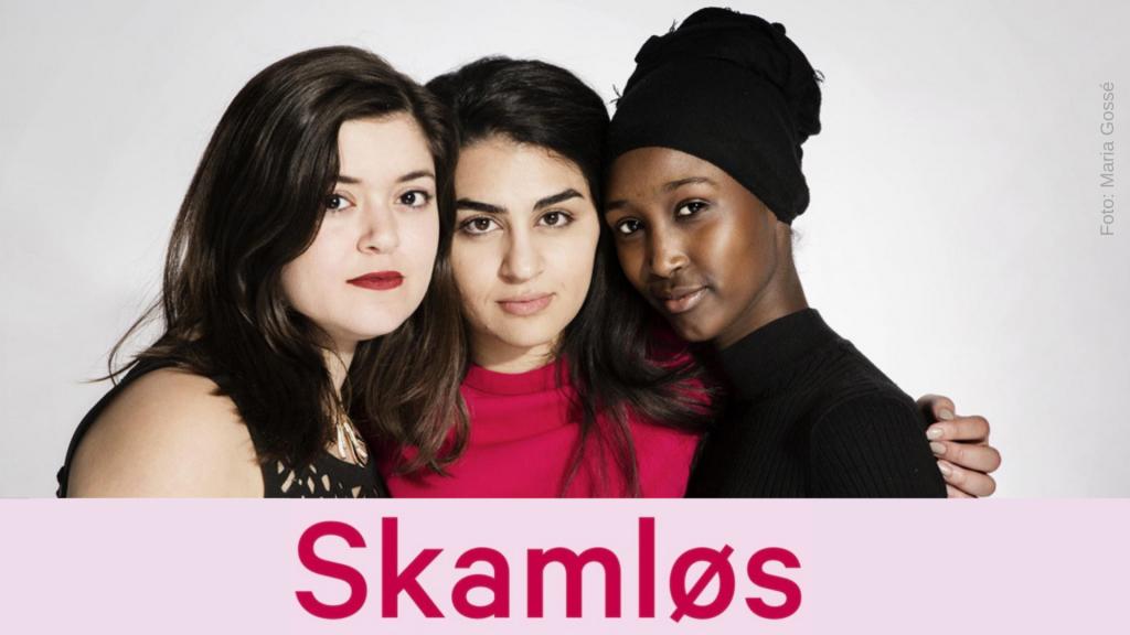 Nancy Herz, Sofia Nesrine Srour og Amina Bile som har gitt ut boken Skamløs