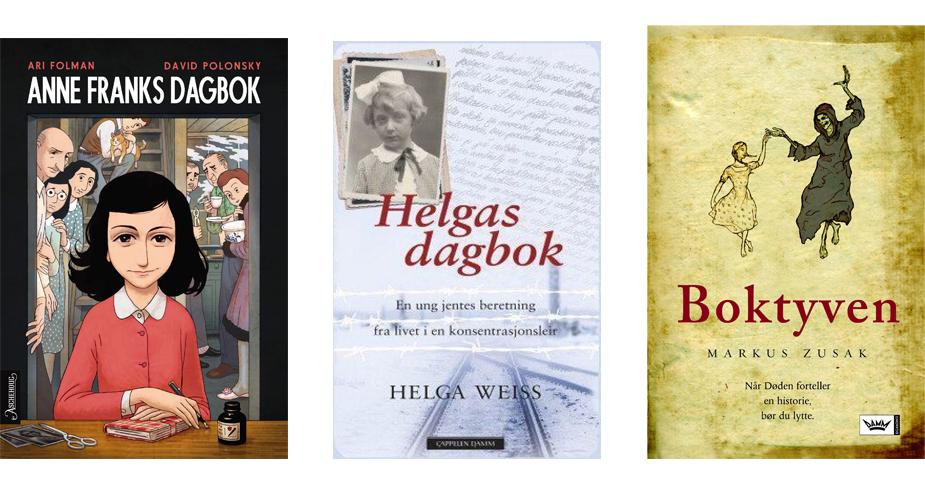 Forsidebilde av bøkene Anne Franks dagbok, Helgas dagbok og Boktyven